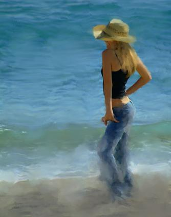 painting by the sea. beach girl painting