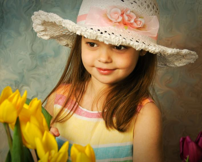 Girl Portrait, Young girl in Hat Painting