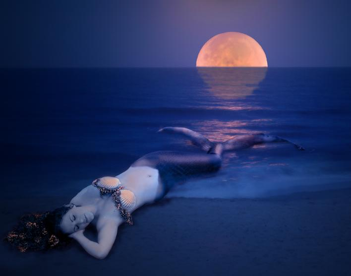 Mermaids, Mermaid by the Sea, Mermaid and the moon, Blue mermaid, Mermaid photography
